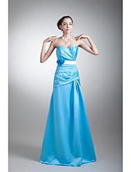 A-ligne sweetheart floor length stretch satin prom robe de soirée formelle avec fleur (s) plis de châssis / ruban