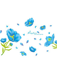 Wall Stickers Wall Decals Style Blue Flower PVC Wall Stickers