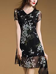 Women's Vintage Floral A Line Dress,V Neck Above Knee Silk