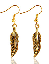 Retro Gold And Silver Clear Veins Leaf Drop Earrings