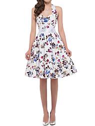 Women's Vintage Print Swing Dress,Round Neck Knee-length Cotton / Polyester Print Randomly