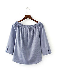 Women's Casual/Daily Sexy / Street chic Summer Blouse,Striped Boat Neck ¾ Sleeve Blue Polyester Thin