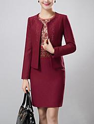 Gaine Robe Aux femmes Soirée / Cocktail / Grandes Tailles simple,Jacquard Col Arrondi Au dessus du genou Manches Longues Rouge Polyester