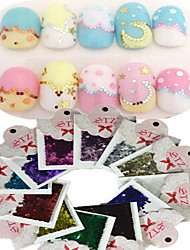 1set Includ 12 colors Paper Card Nail Art Glitter Colorful Geometric Hexagon Shape Stickers Nail Art Decoration