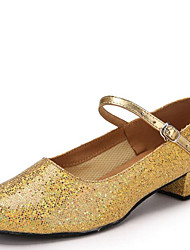 Latin Kid's Dance Shoes s Heels Paillette Cuban Heel Gold/Silver