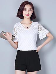 Mulheres Blusa Casual Plus Sizes / Moda de Rua Verão,Sólido Rosa / Branco Poliéster Decote V Manga Curta Média