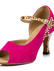 Customizable Women's Dance Shoes Leatherette Leatherette Salsa Sandals Stiletto Heel Performance Fuchsia