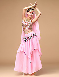 Belly Dance Women's Performance Chiffon Sequins Coins Tassels Outfits with Earrings Dance Costumes