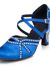Customizable Women's Dance Shoes Latin Satin Stiletto Heel Blue