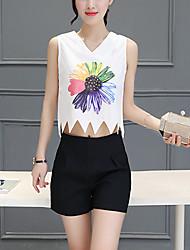 Mulheres Blusa Happy-Hour Simples Verão,Estampado Branco Poliéster Decote V Sem Manga Fina