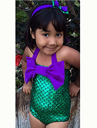 Girl's Psteolyer Summer The Little Mermaid Bowknot  Siamese  Head Band Swimwear