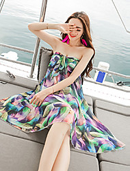 Women's Boho Print Chiffon Dress,Strapless Knee-length Polyester