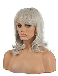 Cosplay Wig  Middle Long Wavy Sliver Hair Synthetic Wig.