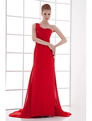 Formal Evening Dress Sheath / Column One Shoulder Court Train Chiffon with Pleats