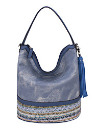 DAVIDJONES/Women PU Shopper Tote-Blue