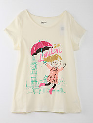 Girl's Print Tee,Cotton Summer Yellow