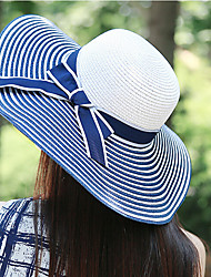 Holiday Necessary Black And White Color Stitching Large Brimmed Straw Beach Lady Bow Hat