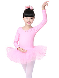 Ballet Dresses Children's Performance Cotton / Spandex Tiers 1 Piece Black / Pink  Long Sleeve