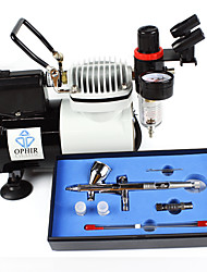 OPHIR Professional 3 Tips Airbrush Kit with High Performance Air Compressor for Hobby Craftworks Color