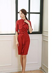 Women's Going out Simple Sheath Dress,Solid Stand Knee-length Short Sleeve Red Polyester Summer