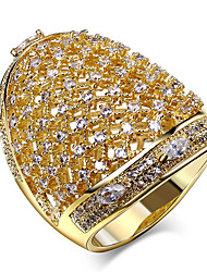 New trend Luxury Macrame Platinum 18K Gold Plated Prong setting White Cubic Zirconia Brass Rings for women