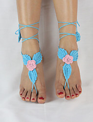 Women's Handmade Crochet Cotton Leaves Ankle Chain Anklet Flower Barefoot Sandals