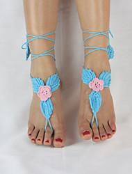 main coton crochet des femmes laisse la cheville chaîne de cheville fleur sandales aux pieds nus