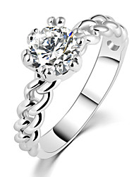 Crystal Zircon Chain-like Female Couples Wedding Rings