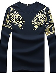 Men's Fashion Slim Dragon Totem Long Sleeved T-Shirt,Cotton / Spandex Casual / Plus Sizes Print