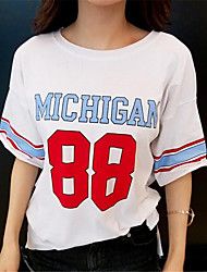 Tee-shirt Aux femmes Imprimé Manches Courtes Col Arrondi Coton
