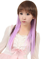 24 inch Women Long Straight Synthetic Hair Wig Cosplay Brown Ombre Light Purple with Free Hair Net