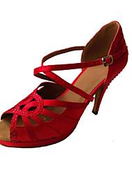Chaussures de danse(Rouge) -Non Personnalisables-Talon Aiguille-Cuir-Latine
