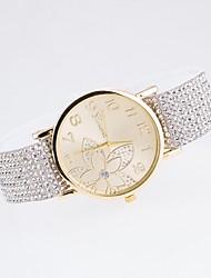 senhoras ocasional relógio de diamantes gilt marcar com diamante genebra cordão lona cinta de relógio de quartzo