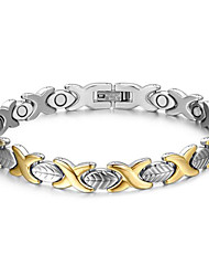 Women's Jewelry Health Care Silver & Gold Stainless Steel Magnetic Therapy Bracelet Fashion Gift