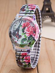 Women's Fashion Watch Quartz Alloy Band Butterfly Flower Multi-Colored Strap Watch