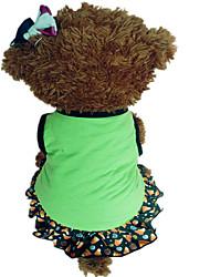 Cães Vestidos Verde / Púrpura Roupas para Cães Verão Estrelas / Corações Da Moda