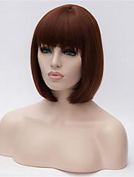 новый темно-коричневый короткие волосы аккуратные взрыва Бобо парик 10 дюймов