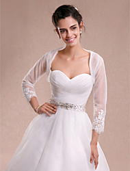 Women's Wrap Shrugs 3/4-Length Sleeve Lace Tulle Ivory Wedding Party/Evening Casual Lace Open Front