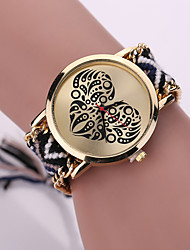Women Fabric Weave Band Analog Quartz Heart Case  Wrist Bracelet Watch Jewelry