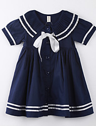 Girl's Polka Dot Dress,Cotton Summer Blue