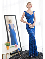 Mermaid / Trumpet V-neck Ankle Length Satin Tulle Prom Formal Evening Dress with Sequins by JUEXIU Bridal