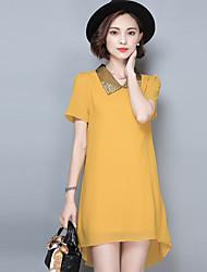 2016 Summer New Women's Fashion Loose Chiffon Beading Dress