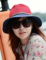 Retro Bow Color Stitching Leather Buckle Large Brimmed Sun Hat