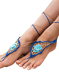 Women's Handmade Crochet Cotton Flower Sandals Laces Chain Anklet Barefoot Sandals