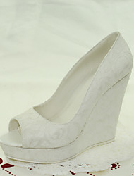 Women's Shoes Lace Wedge Heel Peep Toe Sandals Wedding / Dress White