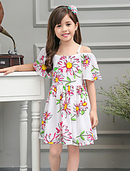 Girl's White Dress / Blouse,Floral Cotton / Polyester Summer