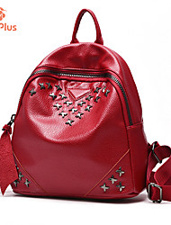 M.Plus® Women's Fashion Korean Solid Rivet PU Leather Backpack