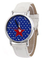 Ladies' Fashion Quartz Diamante Denim Stars  Leather Belt Individuality Fashionable Relaxation Watches