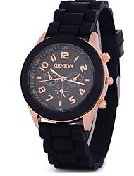 Fashion Woman Watches Three False Silica Gel Geneva Analog Quartz Wrist Watches