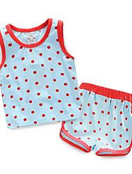Mädchen T-Shirt / Shorts-Lässig/Alltäglich Druck Baumwolle Sommer Blau / Grün / Rosa / Gelb